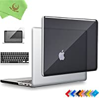 "ueswill 3in1光沢クリスタルクリアSee Throughハードシェルケースとシリコンキーボードカバーfor MacBook Retina +マイクロファイバークリーニングクロス MacBook Pro 15"" with Retina Display ブラック UES06C15R3-01r"