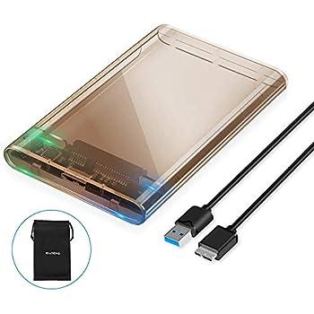 ELUTENG SSD ケース 2.5インチ ハードディスクケース 透明設計 SSD/HDD外付け ケース USB3.0 HDD ケース 高速 UASP対応 2TBまで 9.5mm/7mm厚両対応 工具不要 45cmのUSB3.0ケーブル付き win10/8/7/xp/Vista;MacOS9/10;Linux対応