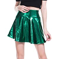 Women's Clothes Clubwear Fashion Faux-Leather Mini Solid Color Skirt