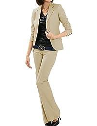 パンツスーツ リクルートスーツ レディススーツ ベージュ 就活 13号 上下別サイズ対応スーツ