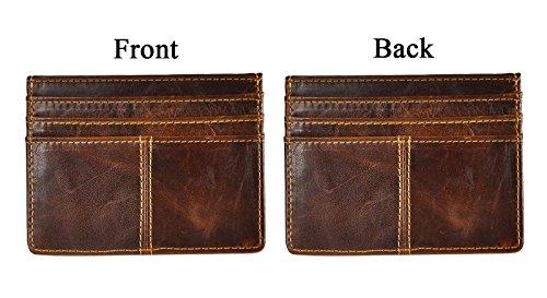 Le'aokuu Genuine Leather Magnet Money Clip Credit Card Case Holder Front Pocket Slim Wallet (coffee)