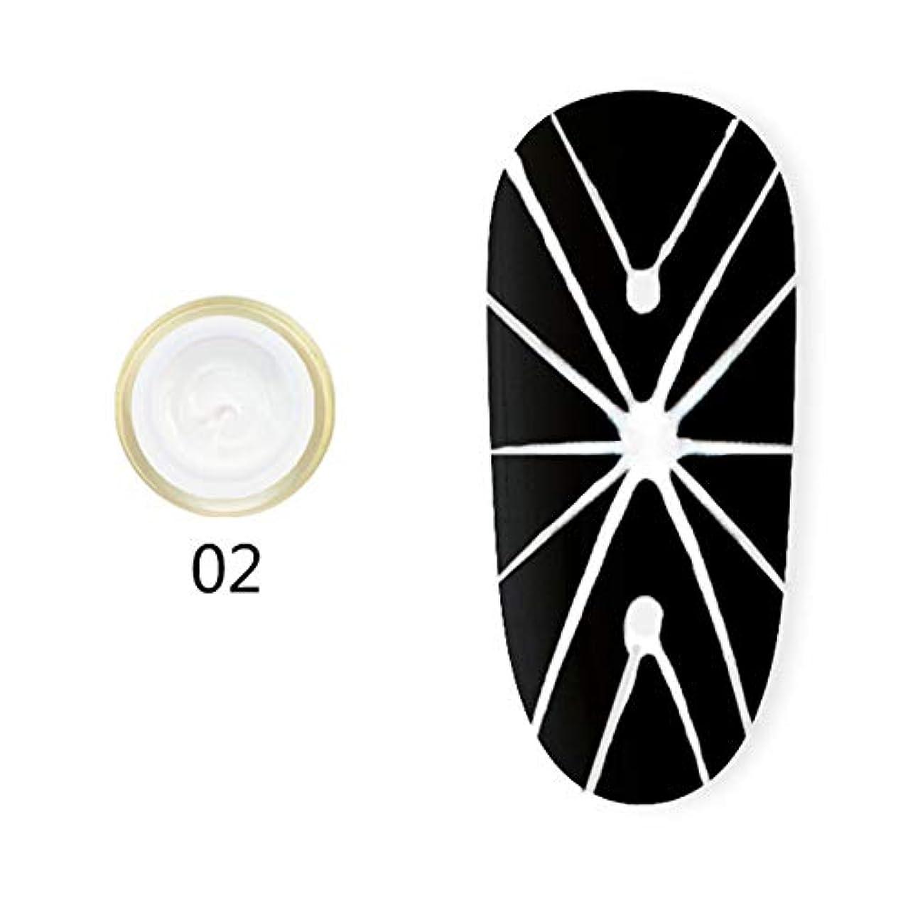 アシュリータファーマン盲目支援するhamulekfae-弾性クモ画線ワイヤーペインティングジェルDIY UVネイルジェルポリッシュラッカー White