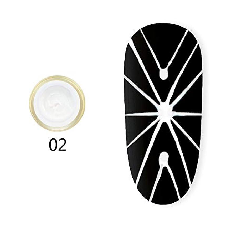 明快部門ネクタイhamulekfae-弾性クモ画線ワイヤーペインティングジェルDIY UVネイルジェルポリッシュラッカー White