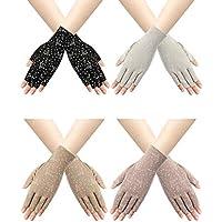 Trounistro 4 Pairs Women Sunblock Fingerless Gloves Non Slip UV Sunscreen Protection Gloves Driving Gloves for Women