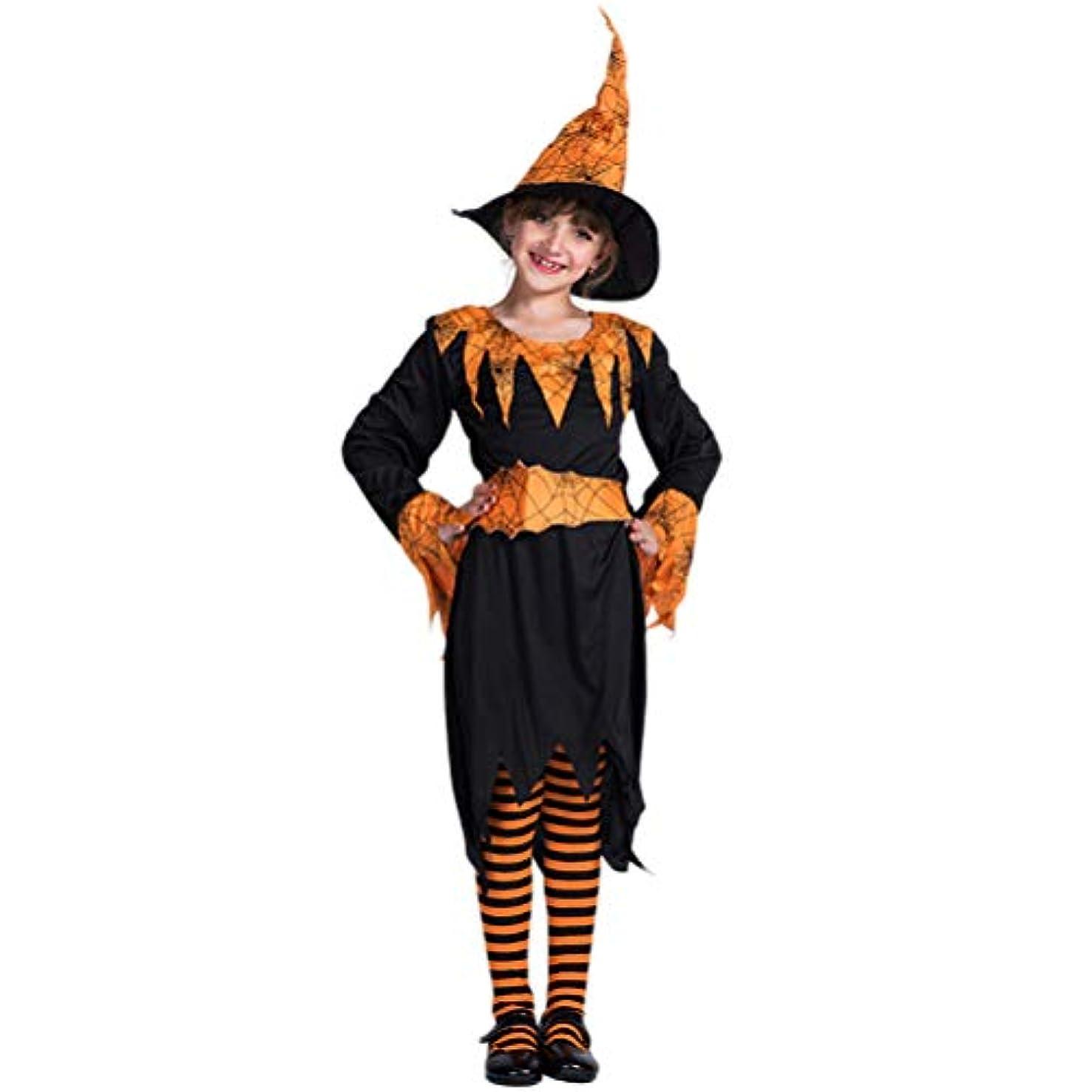 ジャニス守る寸法BESTOYARD ハロウィンパーティーカボチャスパイダーウィッチコスプレスーツ子供ステージパフォーマンスコスチュームセットホリデーコスプレ(帽子、ドレス、ベルト、L)