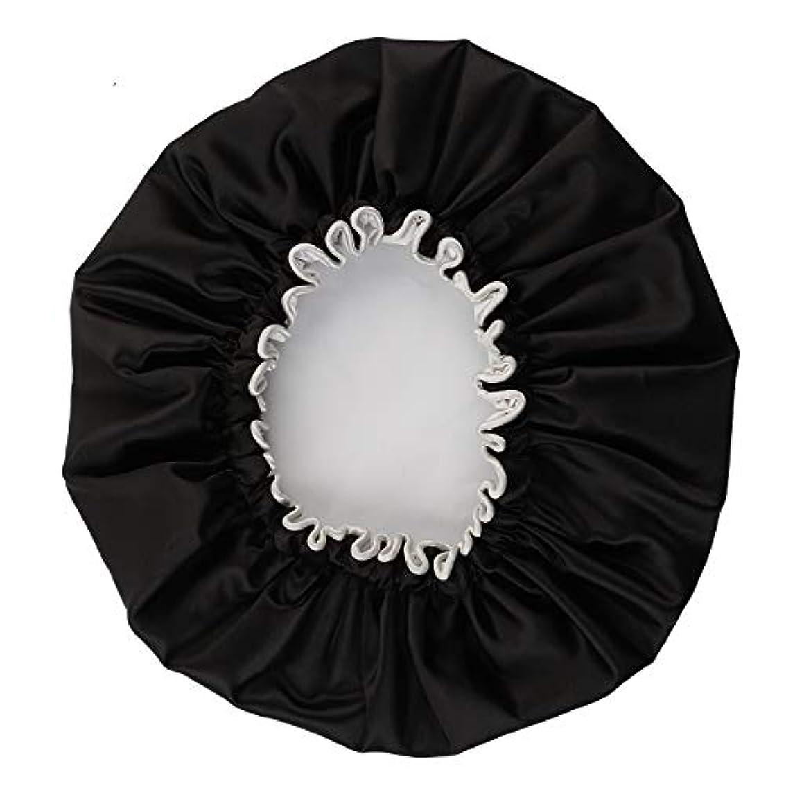 百いわゆる晩餐NEOVIVA シャワーキャップ 可愛い ヘアキャップ ヘアーキャップ ヘアーターバン 防水帽 入浴キャップ 帽子 お風呂 旅行セット ブラック