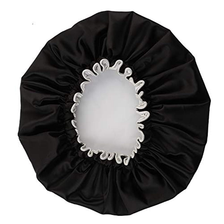 NEOVIVA シャワーキャップ 可愛い ヘアキャップ ヘアーキャップ ヘアーターバン 防水帽 入浴キャップ 帽子 お風呂 旅行セット ブラック