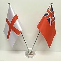 emblems-gifts England &レッドエンサインフラグクロム、サテンテーブルデスク国旗セット