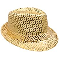 Mozlly Glamorous Gold Sequin Fedora Hat Flashing Disco Retro Funky Glitter Sparkly Universal Luxurious Costume Caps Party Favor Games Banquet Wedding Novelty Headwear Accessories 11 Inch