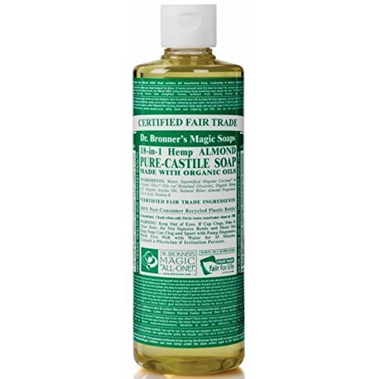 必須農奴農学のブロナー有機アーモンドカスティーリャ液体石鹸237ミリリットル x4 - Dr Bronner Organic Almond Castile Liquid Soap 237ml (Pack of 4) [並行輸入品]