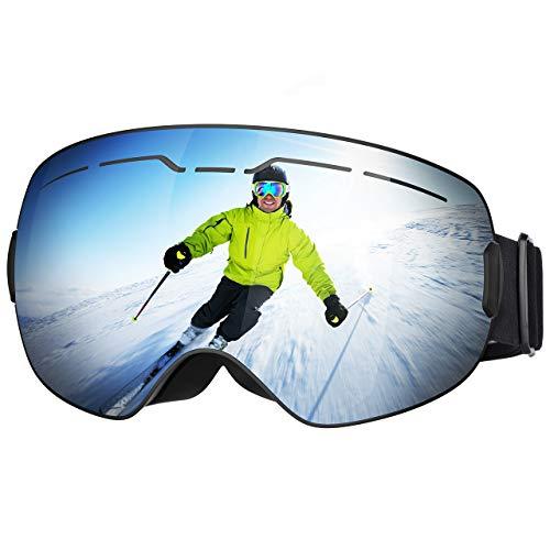 Patech スノーゴーグル スキーボード 99%UVカット 曇り防止 男女兼用 球面レンズ 防風/防雪/防塵 山登り/スキーなど用 (2019新版)
