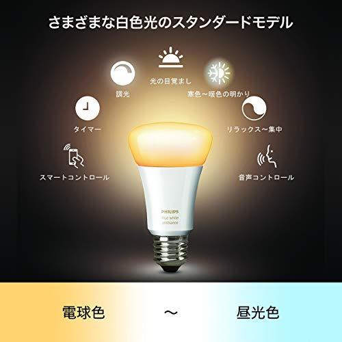 『【アウトレット品】Philips Hue ホワイトグラデーション シングルランプ(電球色~昼光色) 3個セット  E26スマートLEDライト3個  【【Amazon Echo、Google Home、Apple HomeKit、LINE対応】』の2枚目の画像