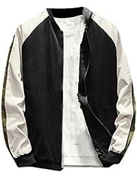 chenshiba-JP メンズ大サイズファッションカラーブロックアウトウェアコート野球ジャケット