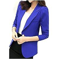 MogogoWomen Outwear Lapel Commute Solid Skinny 1 Button Suit Jacket Sapphire Blue S