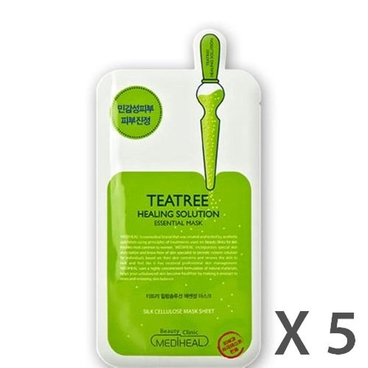 市場変換する器具MEDIHEAL Tea Tree Healing Solution Essential Mask 5ea /メディヒール ティー ツリー ヒーリングソリューションエッセンシャルマスク 5ea [並行輸入品]