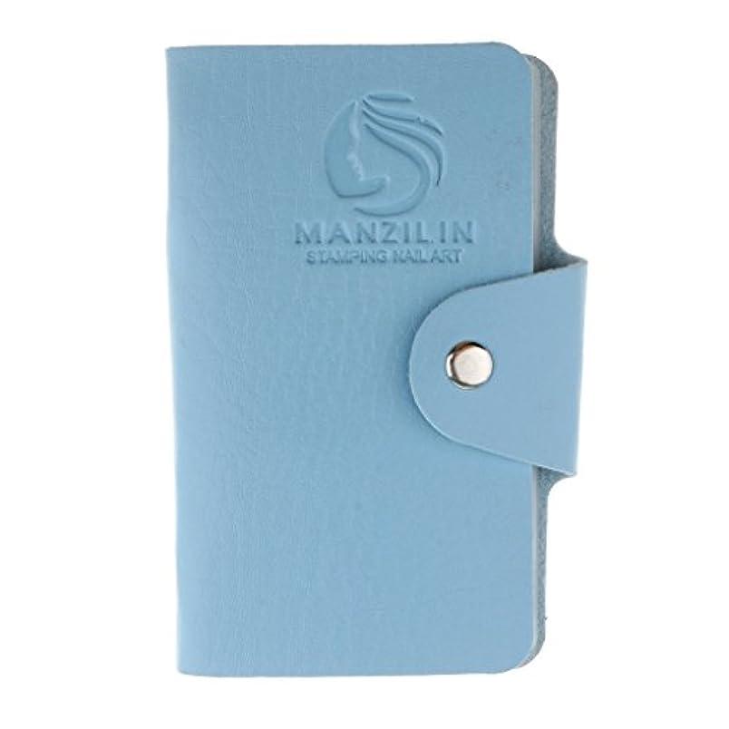 キャプションベルやりがいのあるFenteer オーガナイザーケース バッグ プレートスタンパーバッグ 24スロット ネイルアート ホルダー 収納 5色選べ - 青