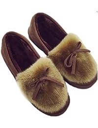 only J トレンドファー付きフラットシューズパンプス ブーツ靴 冬靴 歩きやすい 暖かい ローヒール 痛くない 防寒 可愛い もこもこ あったか ファー モカシン スエード調 レディース ぺたんこ ブーツ 靴 くつ シューズ