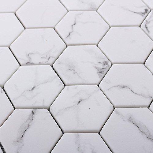 Bianco Marble Tile Mosaic Carrara White Hexagon Marble Mosaic Tiles for Backsplash Wall Bathroom Kitchen Marble Look(6 Pack in Box)