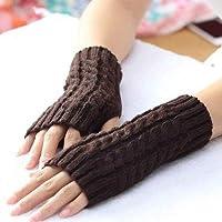 SHiqu Women Sleeve Twist Arm Knitted Short Arm Warm Fingerless High The Cuff Gloves Keep Winter Elastic Solid Wool Warmers Arm, 1 Pair(Black)(Coffee)(Khaki)(Gray)(White) (Color : Coffee)