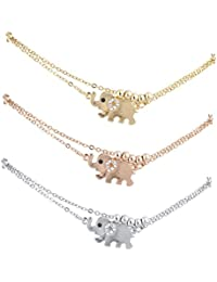 Lux Accessories Tri Color Tone Elephant Animal Boho Novelty Anklet Set 3PC