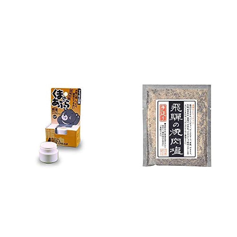 覆すこだわりウェーハ[2点セット] 信州木曽 くまのあぶら 熊油スキン&リップクリーム(9g)?手造り 飛騨の焼肉塩(80g)