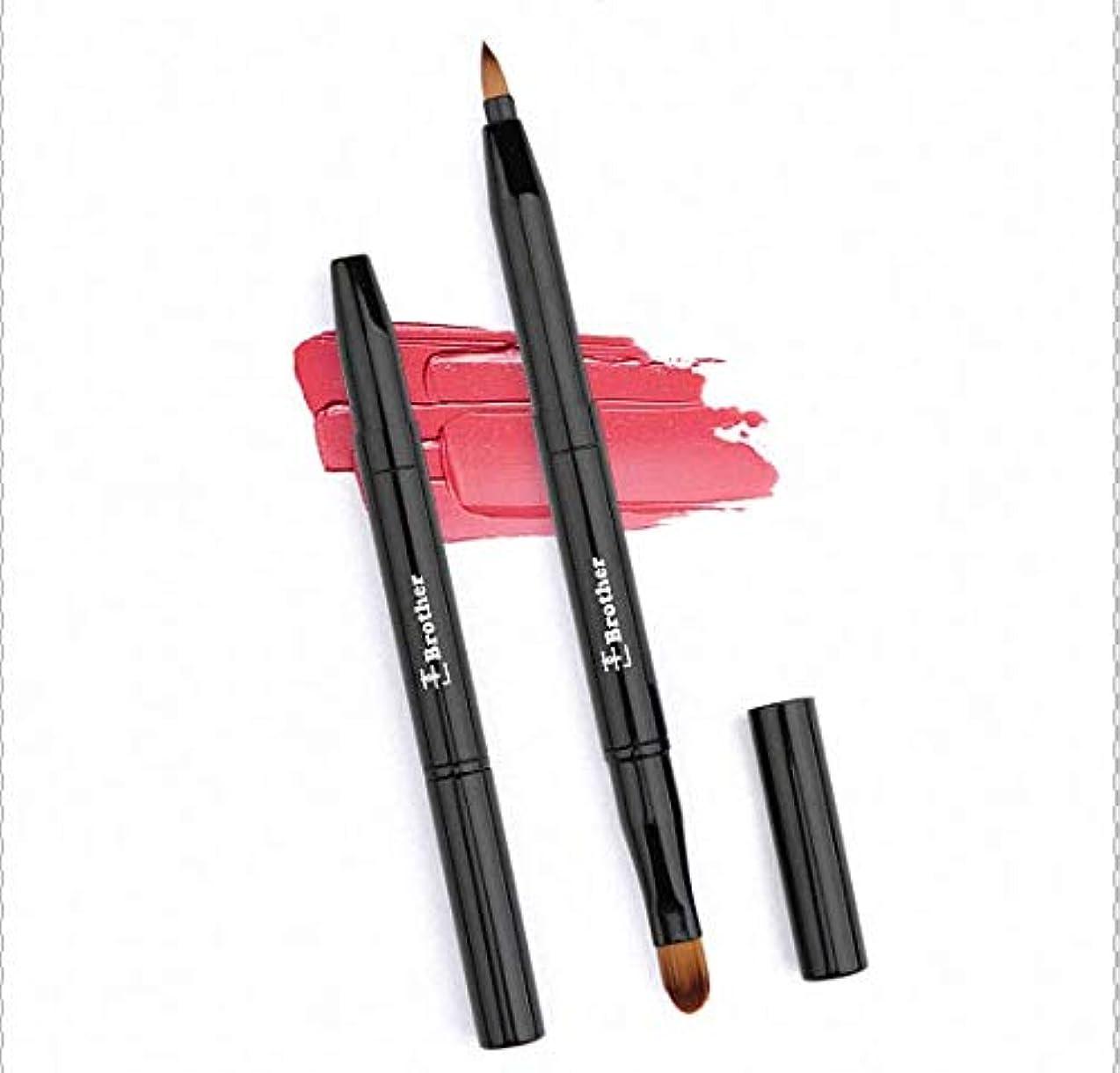 リップブラシ、アイブロウブラシ2in1(ツーインワン) 伸縮機能付き ソフトでフィット感のある化粧筆(超柔らかい)。 携帯便利。ギフト用、旅行用に最適。
