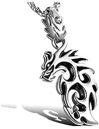 MFYS Jewelry ファッション メンズ ファイア ドラゴン 龍 ペンダント ステンレス ネックレス カラー:シルバー(銀) (チェーン付ペンダントトップ) ネックレス [ギフトボックスを提供] (シルバー)