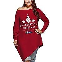 Long Sleeve Plus Size Long Sleeve T-shirt With Irregular Christmas Hem