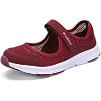 SAGUARO Women's Comfy Breathable Walking Shoes Lady Soft Fashion Mary Jane Sneakers Lightweight Flat Shoes Red Size: 7