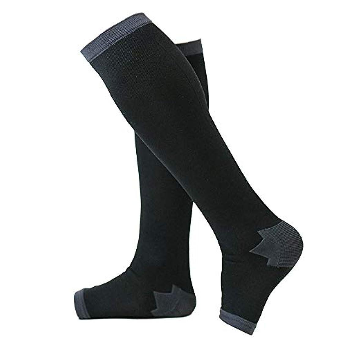 便宜野なうねる冷え性対策 男性専用脚すっきり対策オープントゥ着圧ソックス 膝下 L-LL