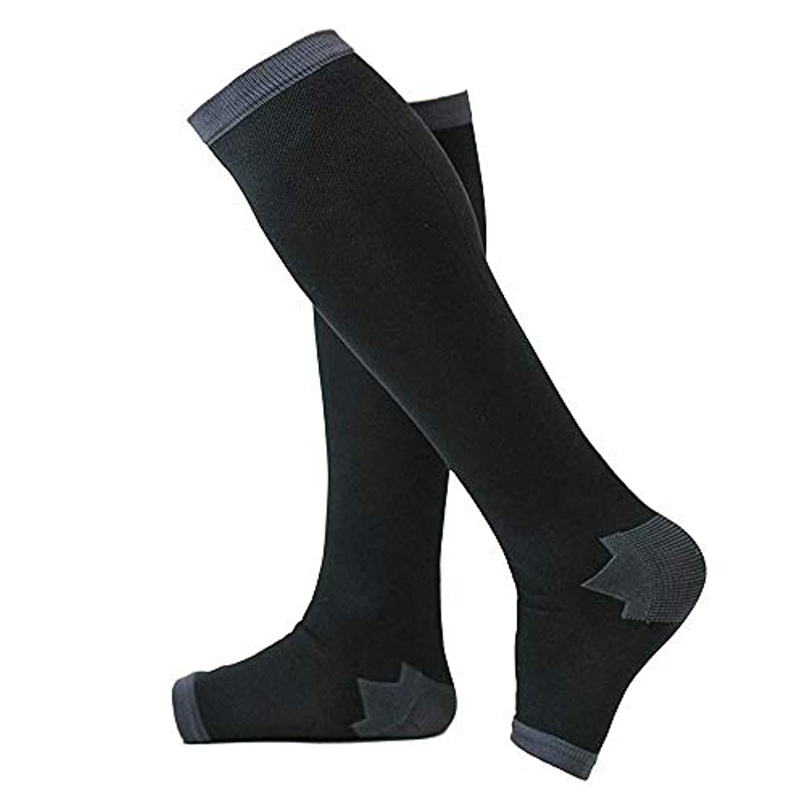 ハードリング団結一瞬冷え性対策 男性専用脚すっきり対策オープントゥ着圧ソックス 膝下 M-L