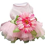 Spring Summer Pet Dog Dress Clothes With Big Sunflower Cute Princess Skirt Wedding Ball Gown Party Dress Pet Supplies - Pink - M