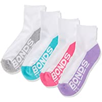 Bonds Kids Logo Quarter Crew Socks (4 Pack), Assorted Girls, 5-8 (2-4 Years)