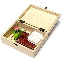 Tianshui Store ホームストレージボックス 天然木製ロック ポストカード ホームオーガナイザー 手作りクラフトジュエリーケース size