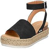 Ecolley Fashion Summer Beach Sandals for Women Wedge Open Toe Ankle Strap Sandal Espadrille Platform Flat