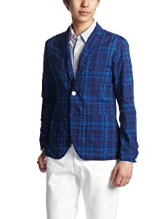 Blended Cotton Check Shirt Jacket 13010300309220: Blue