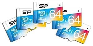SP シリコンパワー5個セット Elite microSDXCカード 64GB UHS-1対応【最大読込85MB/s】防水 防塵 耐X線 永久保証 (アダプタ付) SP064GBSTXBU1V20FI