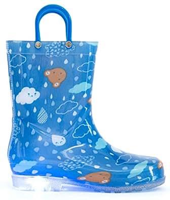 [MOFEVER] 長靴 レインブーツ キッズ 男の子 女の子 子供 レインシューズキッズ レインブルー 幼児 防水 軽量 滑り止め 通園 梅雨対策 (グリーン、14cm)