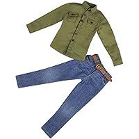 Dovewill モデル おもちゃ 12インチ男性アクションフィギュア用 1/6衣装 ロングスリーブシャツ ジーンズ ベルト