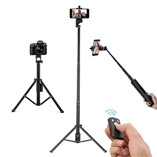 Apsung 自撮り棒 三脚 iphone 三脚 スマホ セルカ棒 Bluetooth 三脚 GoPro 自撮り棒 リモコン ワイヤレス 134cm 五段 調節可能 無線 折り畳み式 伸縮自在 360度回転 アルミ合金 iphone x/8/iphone 8 plus/iphone 7/iphone 7 plus/iphone 6/5/Galaxy Note 8/S8 /S8 Plus/ Android/SONY/GoPro カメラなどに対応 (ブラック)