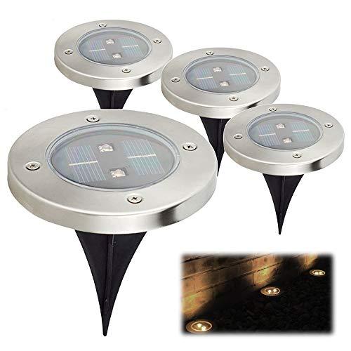 埋め込み式 LEDソーラーガーデンライト 4個セット 屋外照...