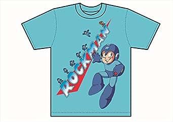 ロックマン Tシャツ メインロゴ 青 Mサイズ