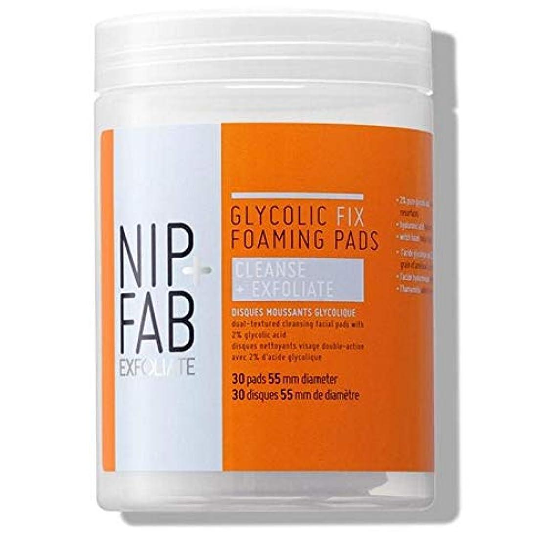 偉業土砂降り良い[Nip & Fab] + Fabグリコール修正発泡パッド95ミリリットルニップ - Nip+Fab Glycolic Fix Foaming Pads 95ml [並行輸入品]