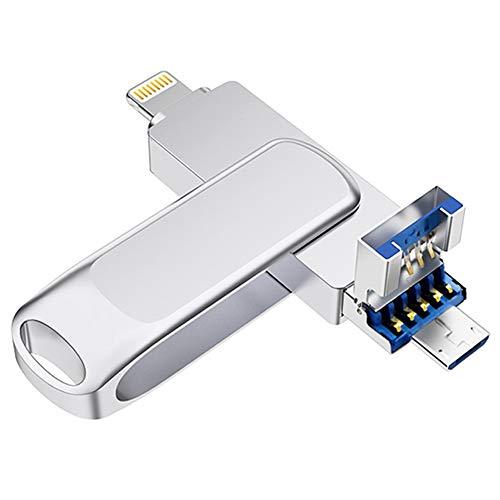 iPhone usbメモリ128gb 3.0 フラッシュドライブ iPad PC Androidスマホ対応 3in1 回転式 メモリスティック(128GB)