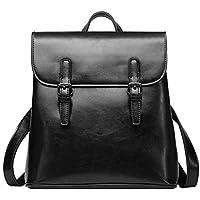Womens Leather Backpack Fashion Large Capacity Travel Backpack Ladies Bag (Color : Black, Size : OneSize)