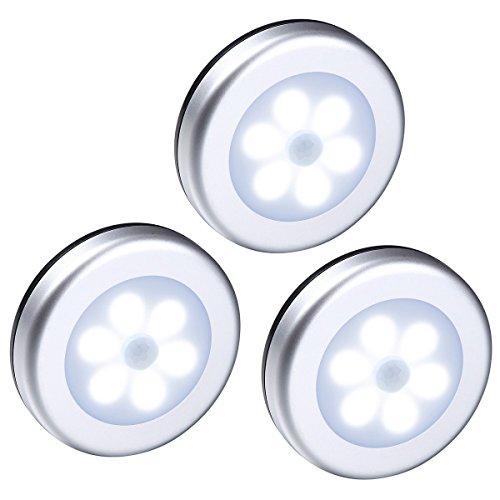 AMIR人感センサーライト 電池式 LEDセンサーライト 室内照明 ワイヤレス 小型 玄関 階段用 3個同梱 銀色