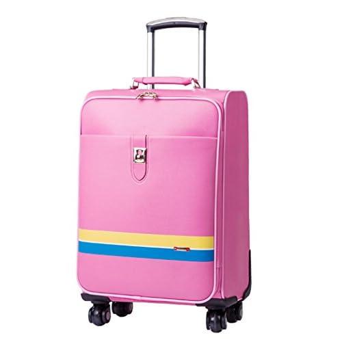 Femoooboro ハイグレードPUレザー素材 ナンバーロック 静音キャスター スーツケーストップ 旅行ラッゲージ - M ピンク