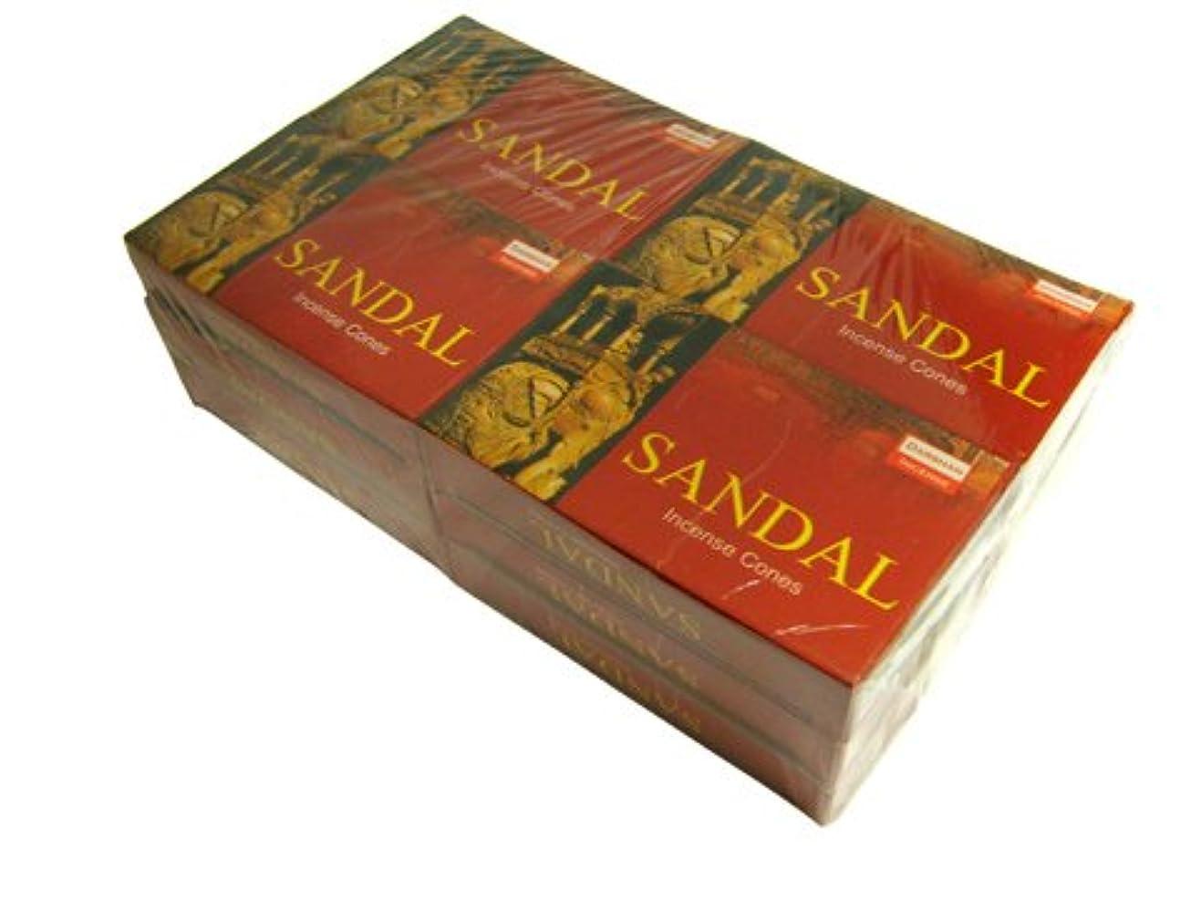 消防士薄めるシェフDARSHAN(ダルシャン) サンダル香 コーンタイプ SANDAL CORN 12箱セット