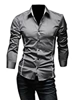 WAYA- メンズファッションのスリムな格子縞のプリント長袖ボタンシャツトップアップ Gray S