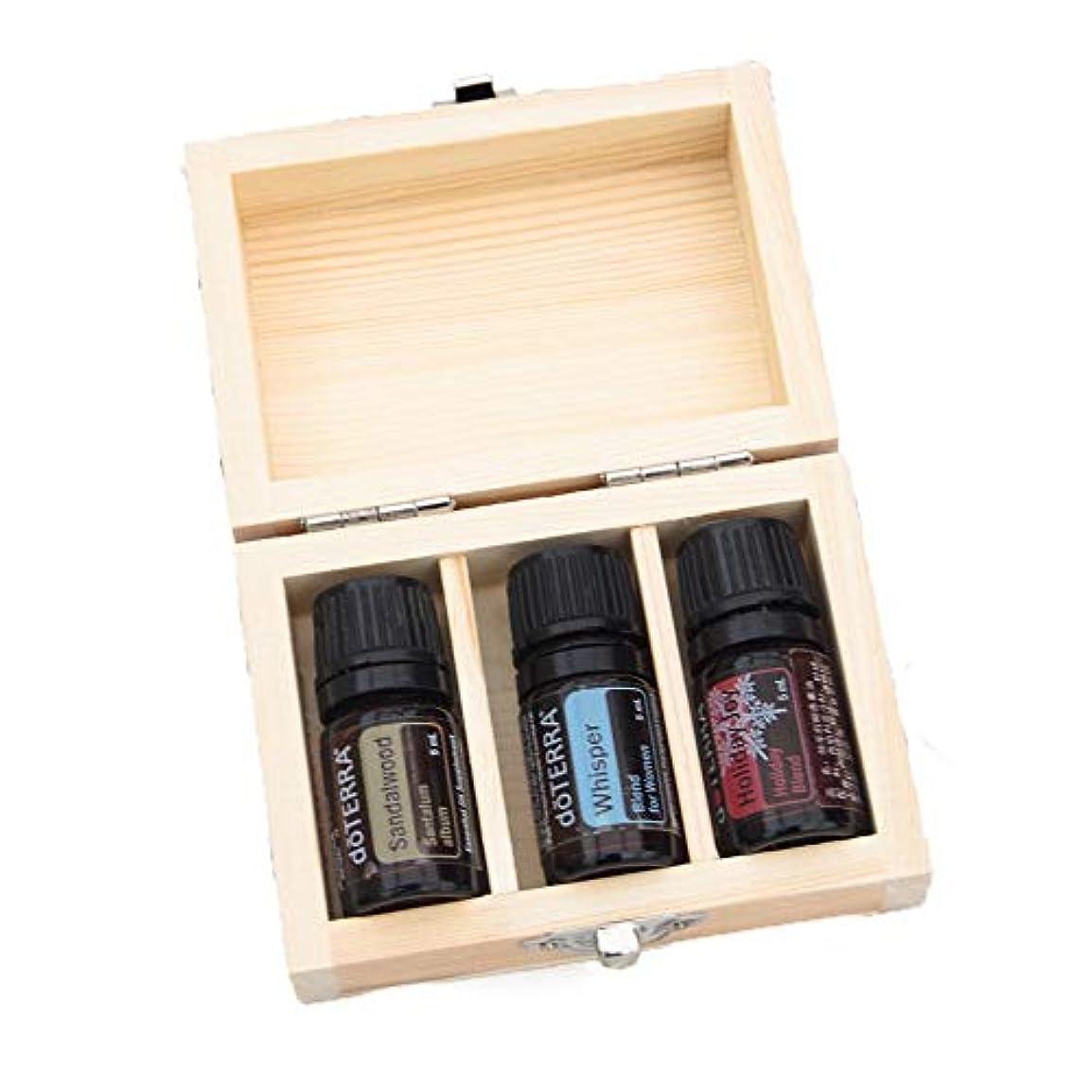 揮発性統治する学ぶエッセンシャルオイル収納ボックス 木製のエッセンシャルオイルボックスケースオーガナイザーは3本の5ミリリットル油のボトルを保持します (色 : Natural, サイズ : 10X7X4.1CM)